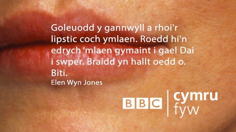 Goleuodd y gannwyll a rhoi'r lipsick coch ymlaen. Roedd hi'n edrych mlaen gymaint i gael Dai i swper. Braidd yn hallt oedd o. Biti.