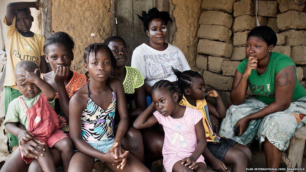 Fatu, 32, (white shirt), Fatu, 28, (green shirt), Grandma, six, (yellow and red stripes), Princess, seven, (pink)