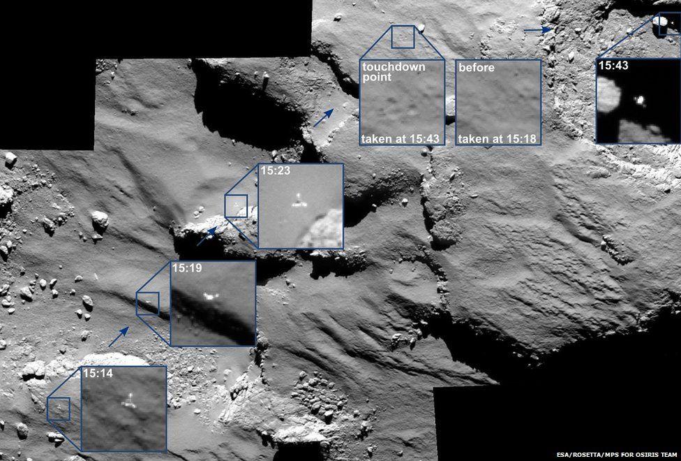 Comet lander: Camera sees Philae's hairy landing