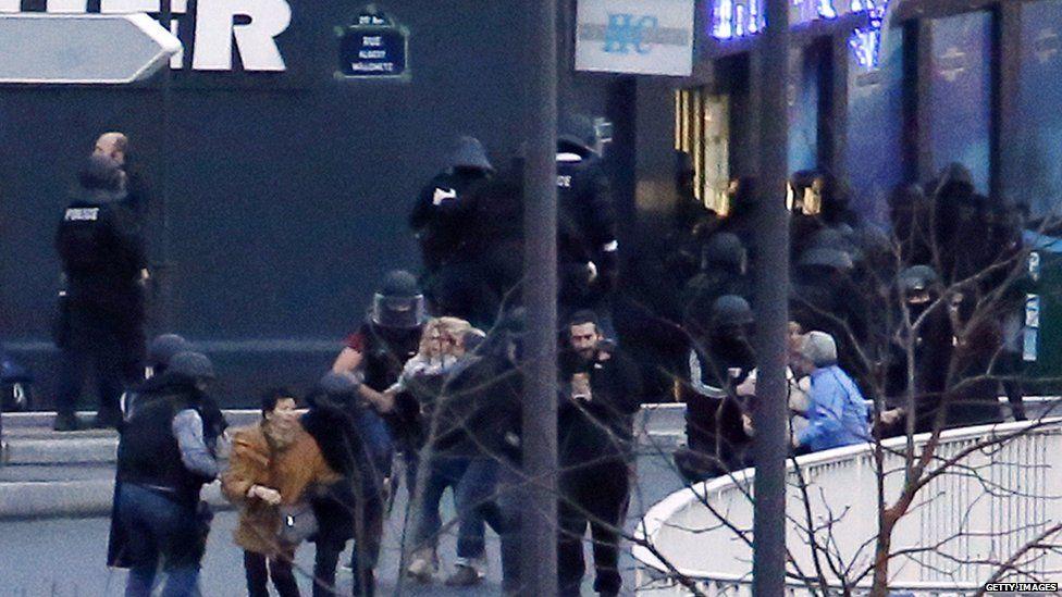Hostages leaving siege at Jewish supermarket