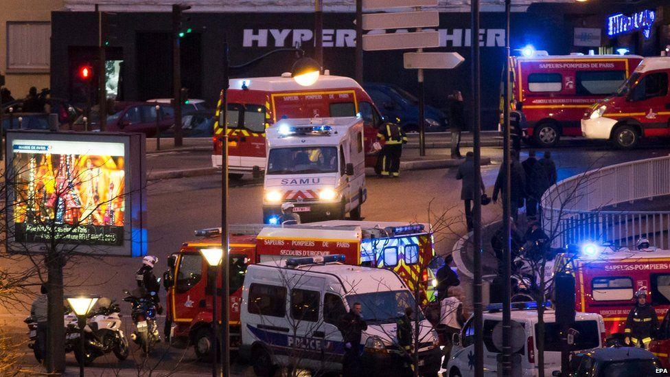 Ambulance at Paris supermarket
