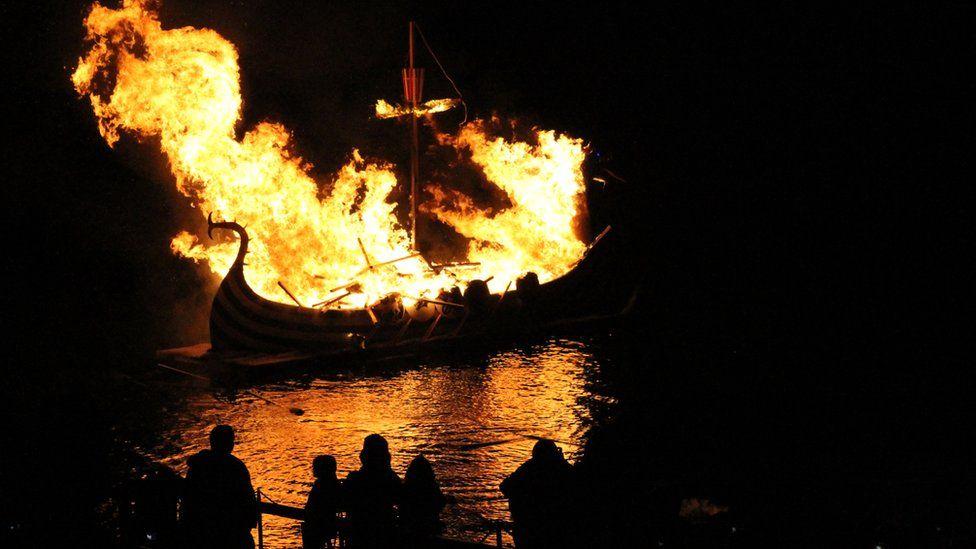 Replica longboat on fire