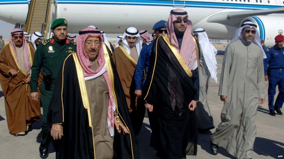 A handout picture released by the Saudi Press Agency (SPA) shows Kuwaiti Emir Sheikh Sabah al-Ahmad al-Jaber al-Sabah (front-L) upon his arrival in Riyadh to attend the funeral of King Abdullah on 23 January 2015