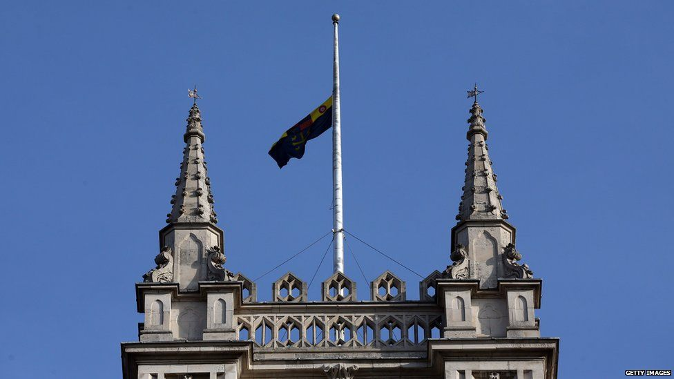 The Union Flag flies at half mast over Westminster Abbey in London, the UK, following the death of King Abdullah of Saudi Arabia on 23 January 2015