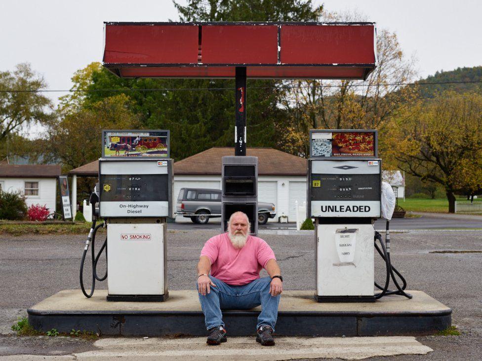Man at petrol station