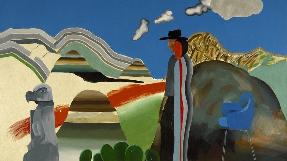 Rocky Mountains and Tired Indians (1965), by David Hockney