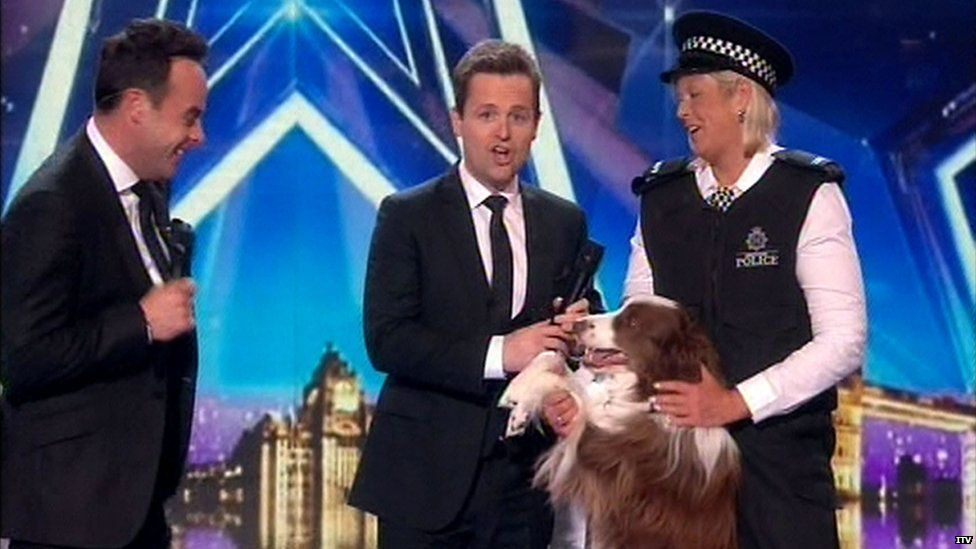 Ant and Dec with Jules O'Dwyer and her dog Matisse