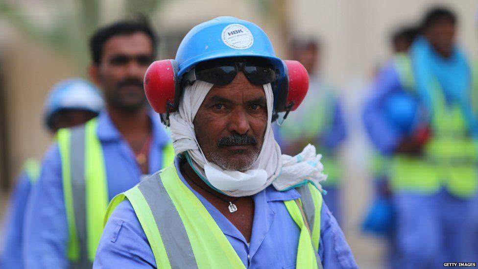 Worker on the Al-Wakra stadium in Qatar