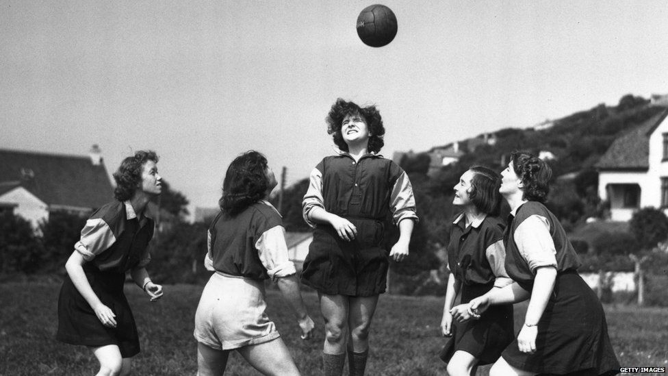 6 September 1954: Members of The Amazons women's football team, training at Combe Martin, Devon