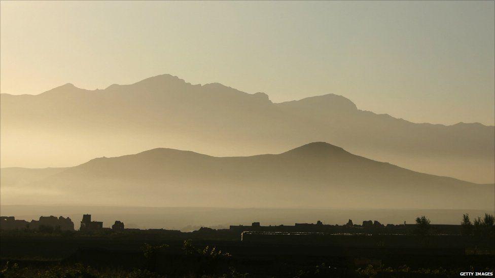 Hindu-Kush mountain chain at sunrise in Bagram