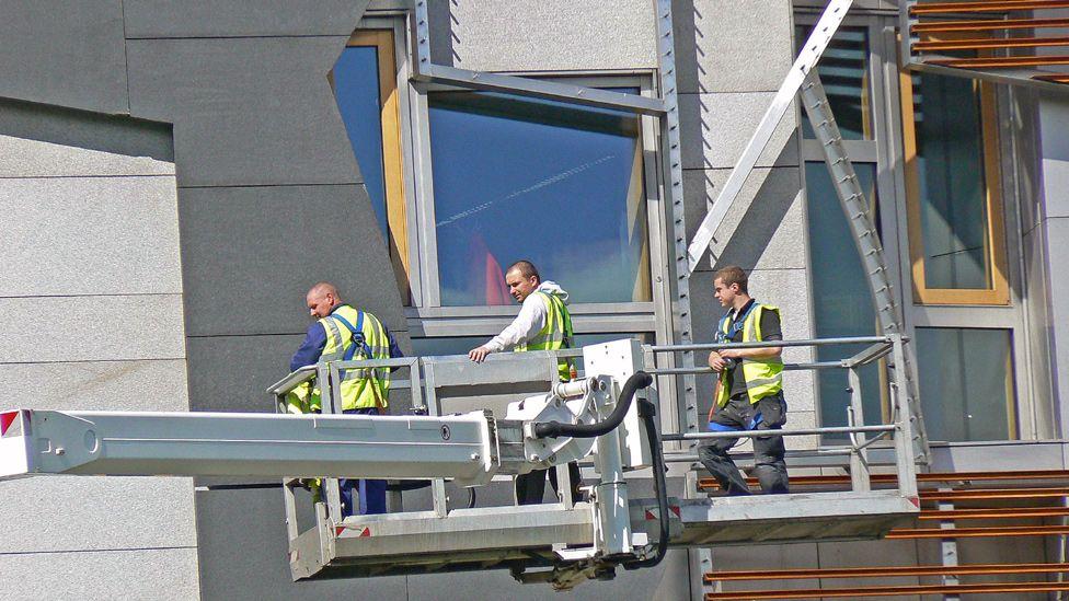 Maintenance crew at the Scottish Parliament