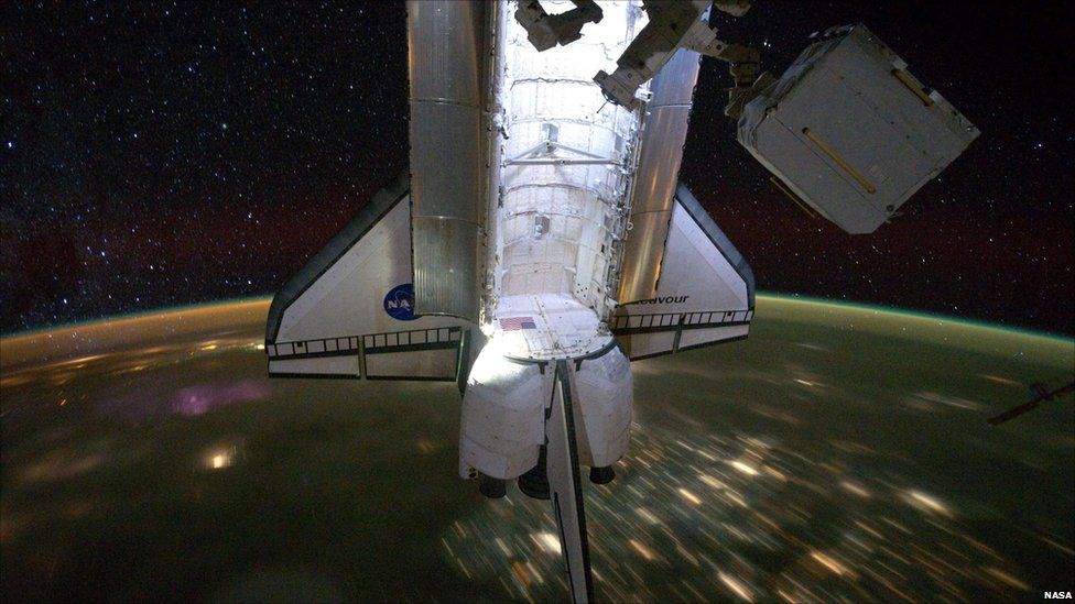 Space Shuttle Endeavour is seen docked to the International Space Station, 2011