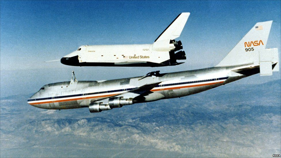Space Shuttle prototype Enterprise rises from the 747 Shuttle Carrier Aircraft, 1977