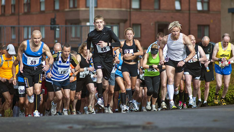 Runners set off on a race