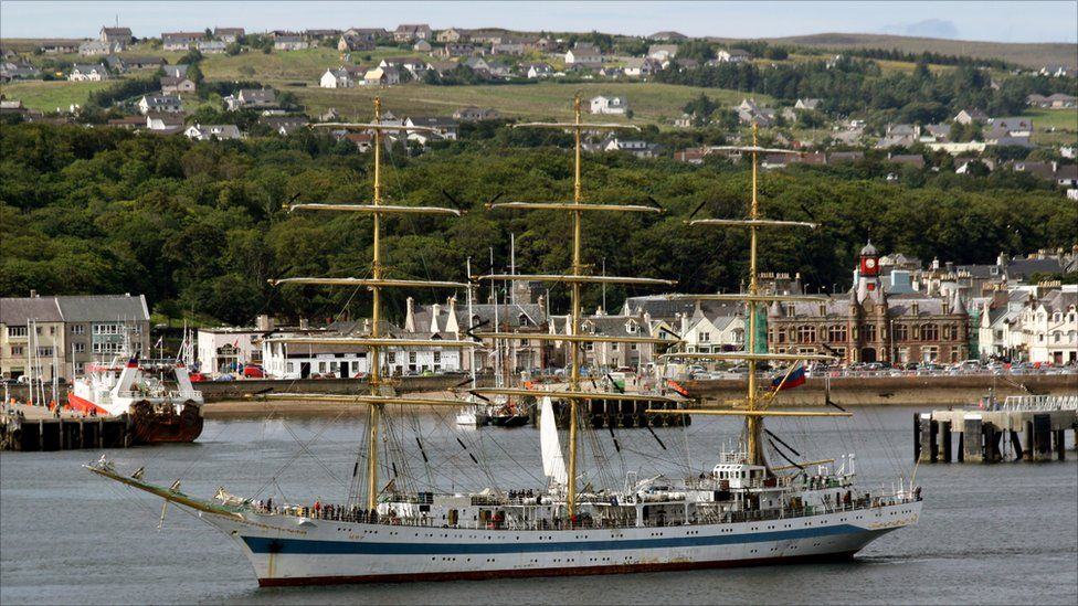 Tall ship 'Mir' in Stornoway harbour
