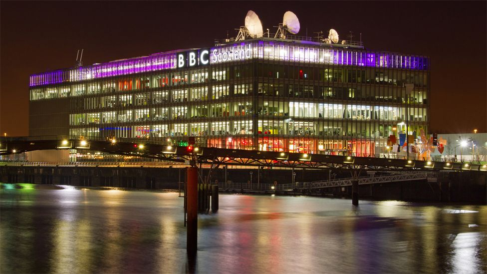 BBC Scotland building lit up at night