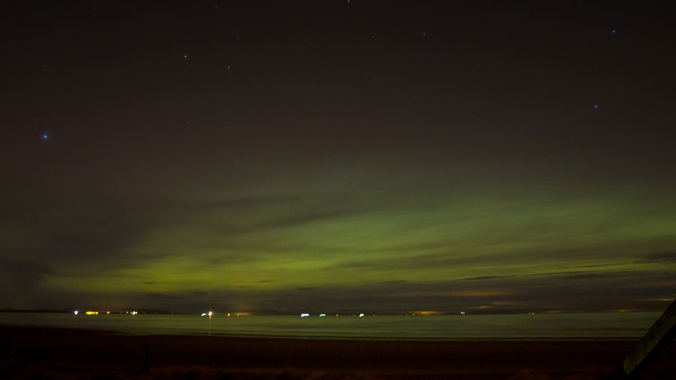 Northern Lights over Findhorn beach