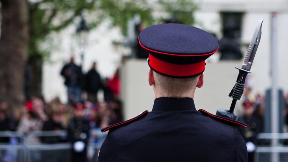 A soldier during the the Queen's procession from Westminster to Buckingham Palace