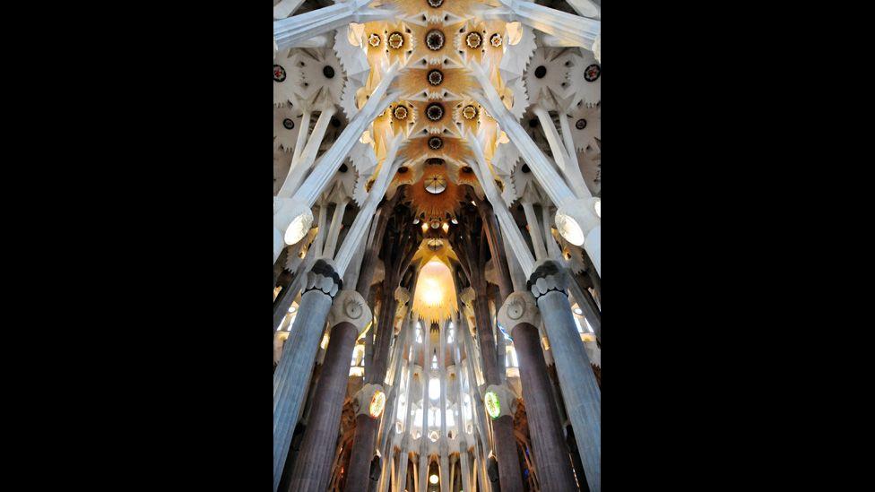 Interior view of the Sagrada Familia in Barcelona