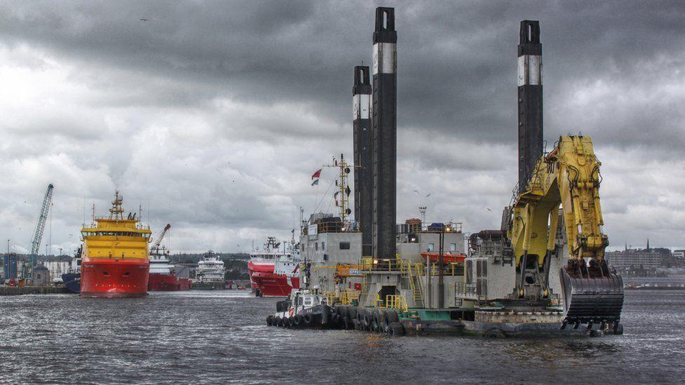 Dredger in Aberdeen harbour