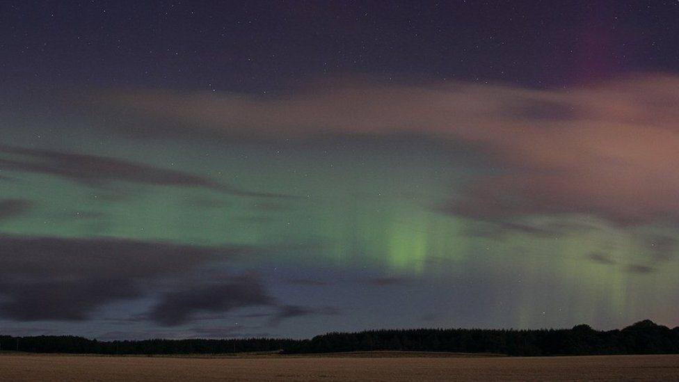Alan C Tough captured this auroral display near Duffus Castle in Moray, with a field of barley in the foreground