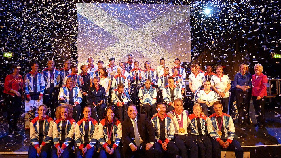 Scottish Olympians and Paralympians with First Minister Alex Salmond