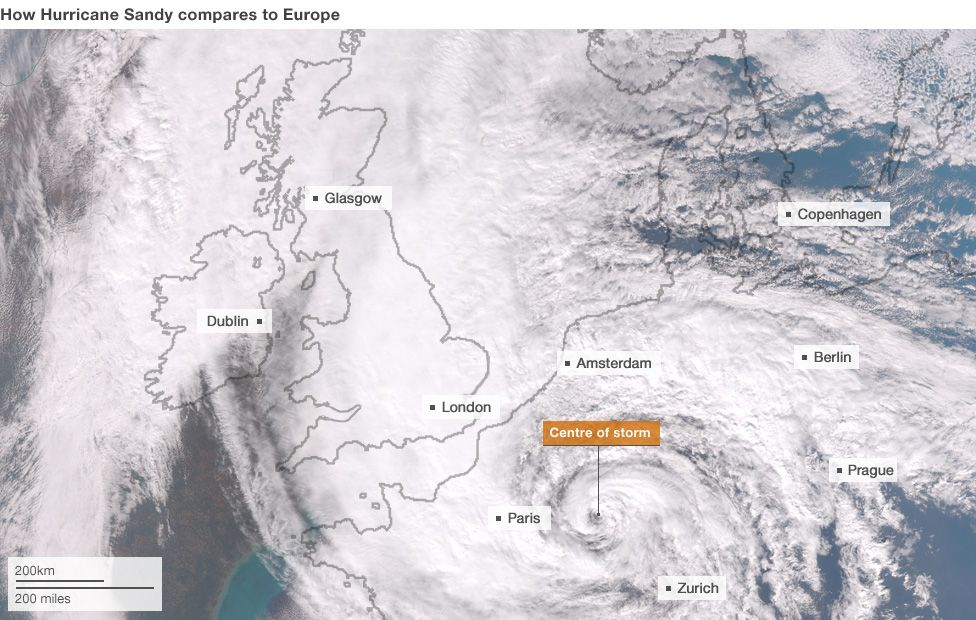 How Hurricane Sandy would look over Europe