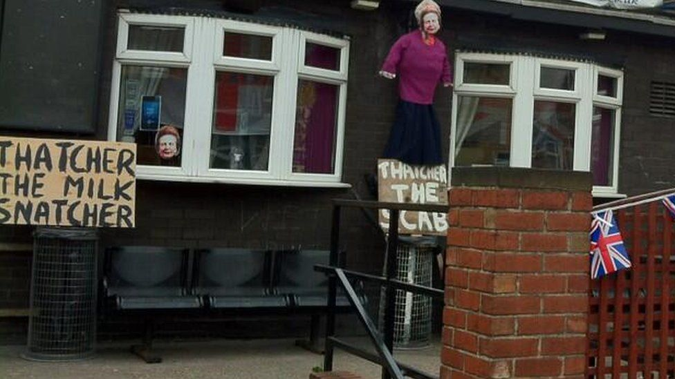 Homemade effigy of Margaret Thatcher and banners in Goldthorpe