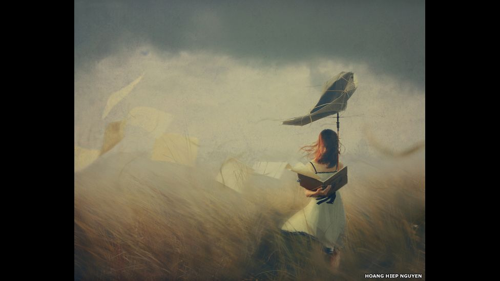 A girl stands firm in the storm
