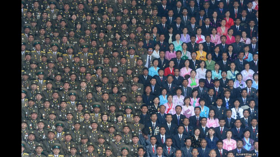 North Korean Army soldiers and civilians