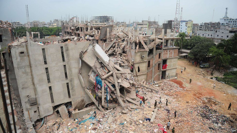 Collapsed building in Dhaka. 27 April 2013