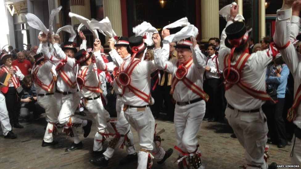 Morris dancers at St Georges Day celebrations in London, England. Photo: Gary Simmons