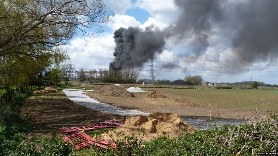 Fire at Creyke Beck electricity sub-station near Cottingham, England. Photo: Steve Somers
