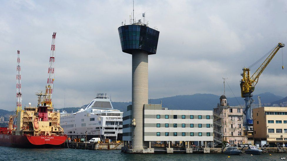 The control tower, looking like one at an airport, pictured in 2011, intact.