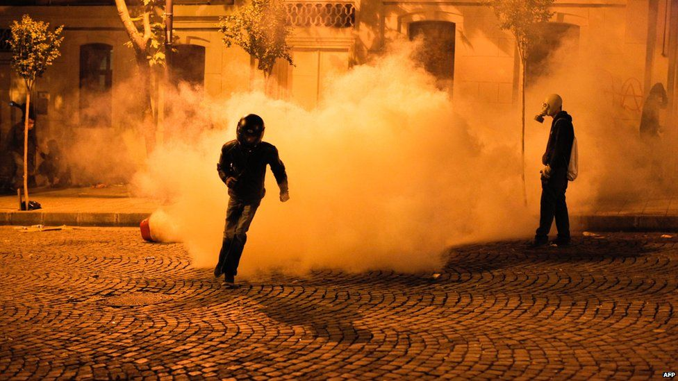 Tear gas is fired on protesters near the Turkish prime minister's office between Taksim and Besiktas in Istanbul on 2 June.