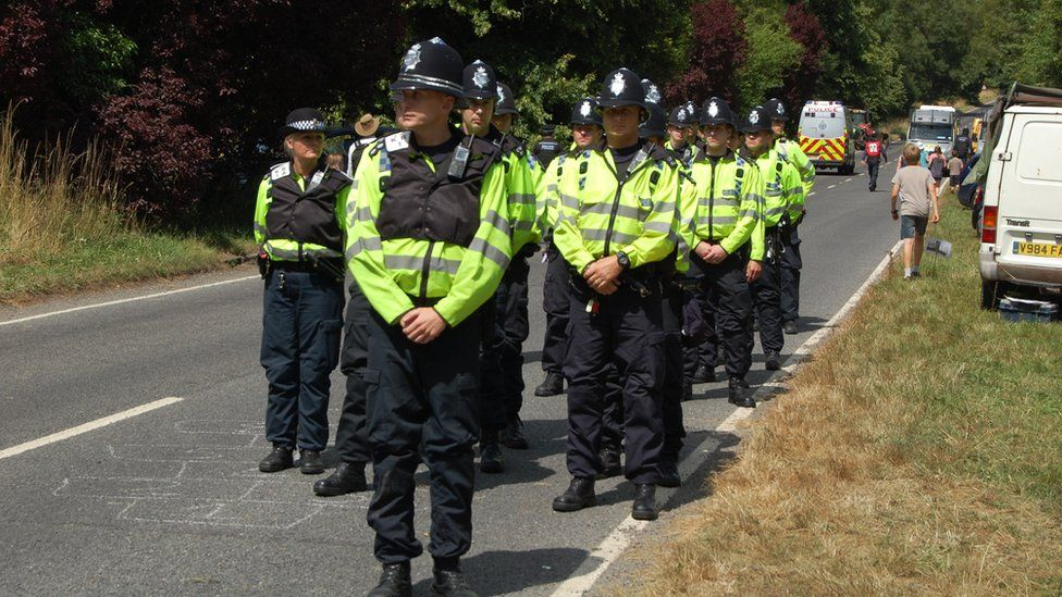 Police line up ready to arrest protesters