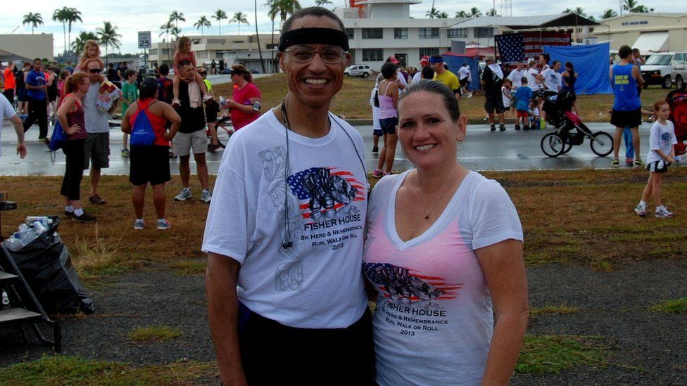 Admiral Cecil D Haney and race organiser, Theresa Johnson
