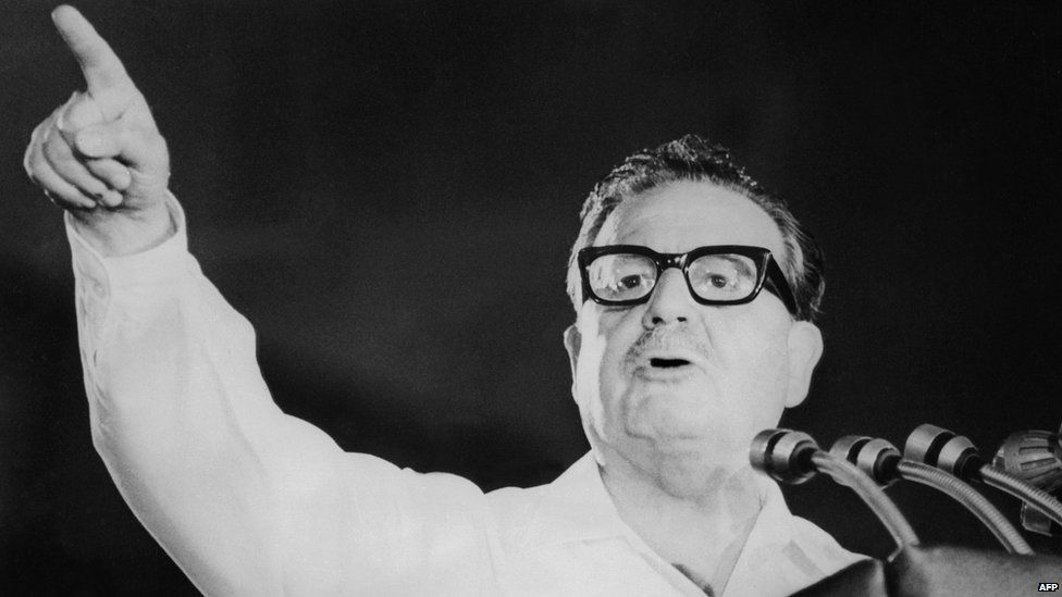 Salvador Allende speaking at a Chilean Communist Party' meeting