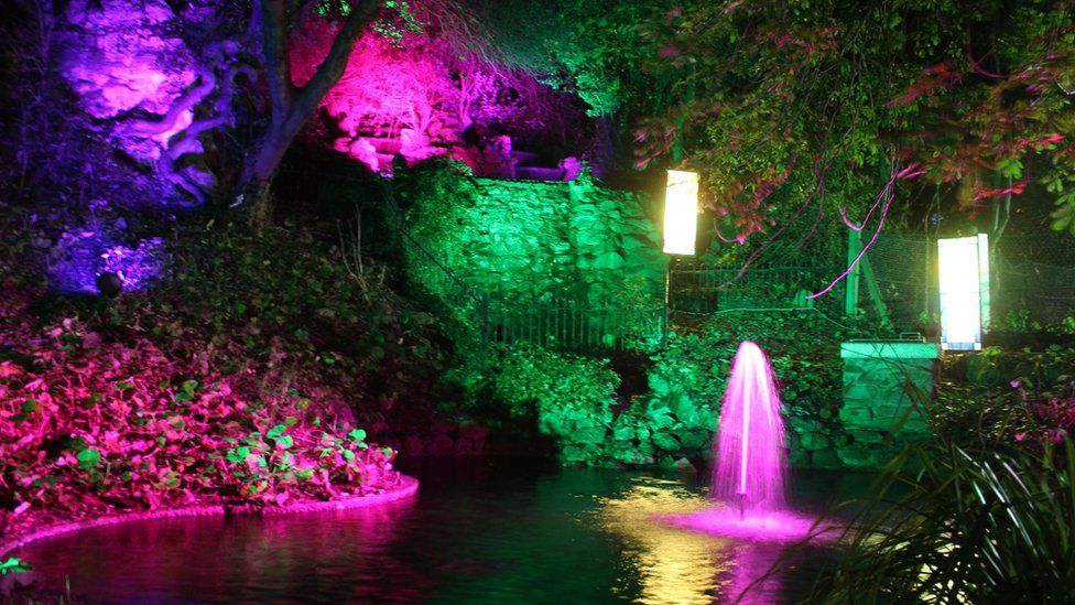 Illuminated pond