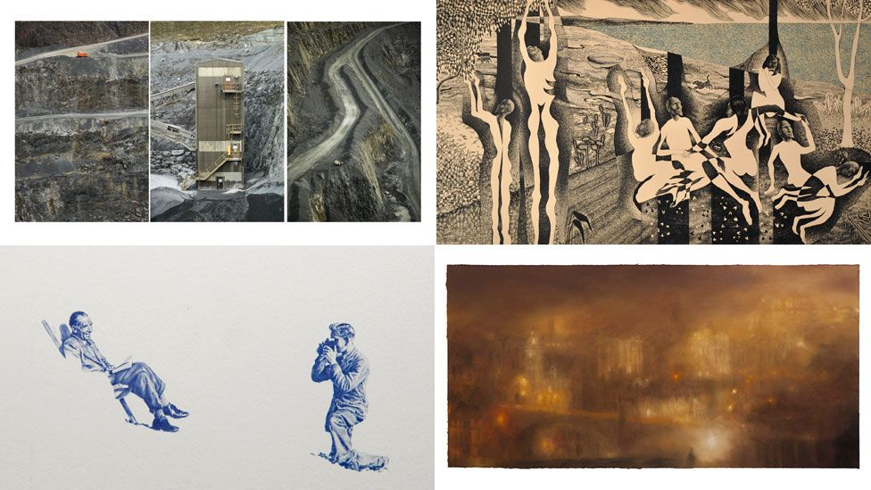(Clockwise from top-left) Hidden Beauty Triptych by Joe Liam Reddy; An Imagined Loss by Thomas Allen; Electric Light by Matthew Draper; and Boscombe Biro Miniature by Greig Gilbert