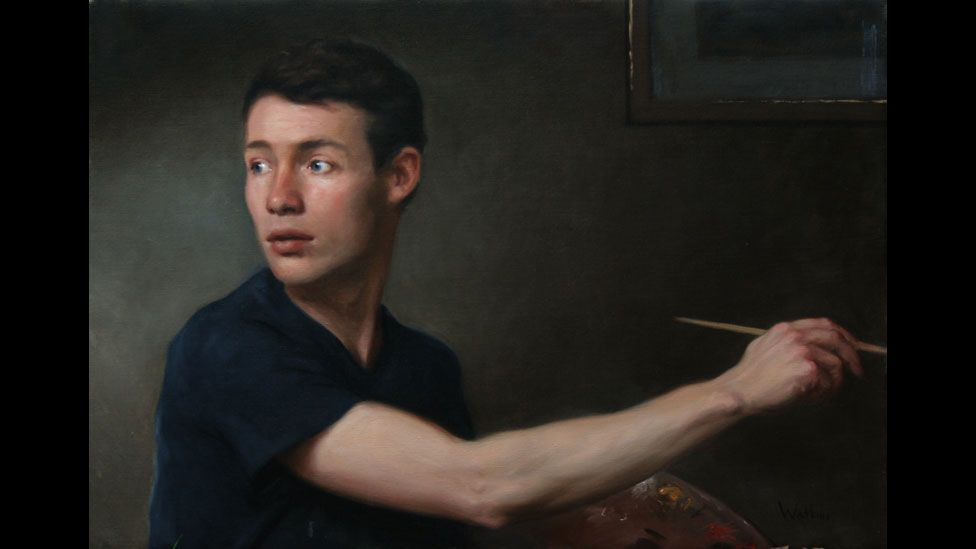Portrait of the Artist Looking Back by Simon Watkins