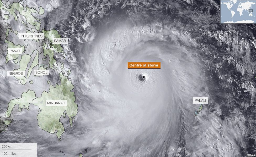 Typhoon Haiyan's approach to the Philippines, 7 November