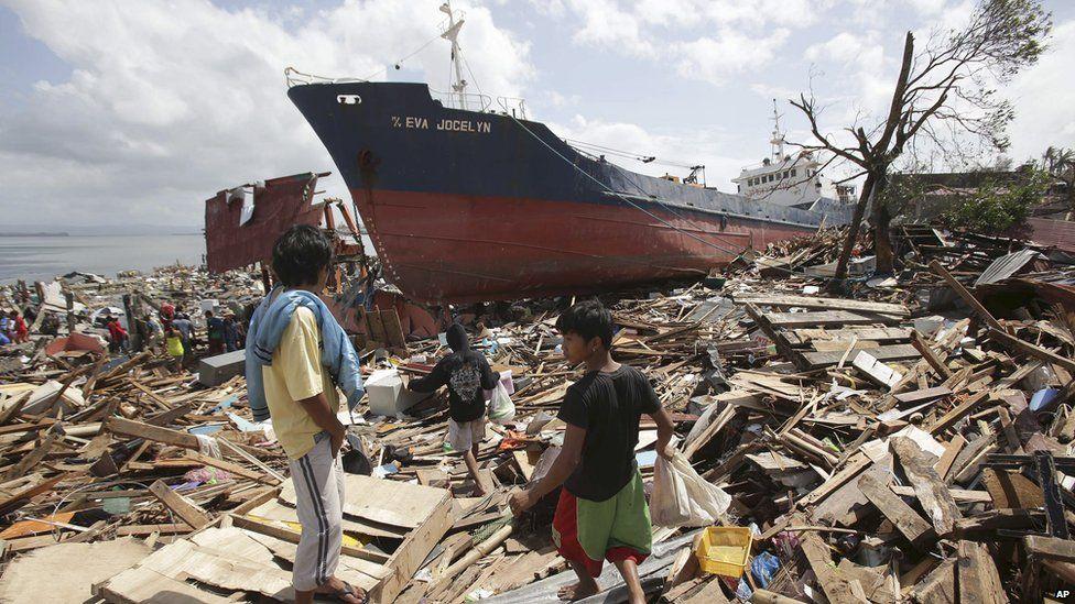 Ship washed ashore by Typhoon Haiyan in Tacloban city, Philippines. 10 Nov 2013