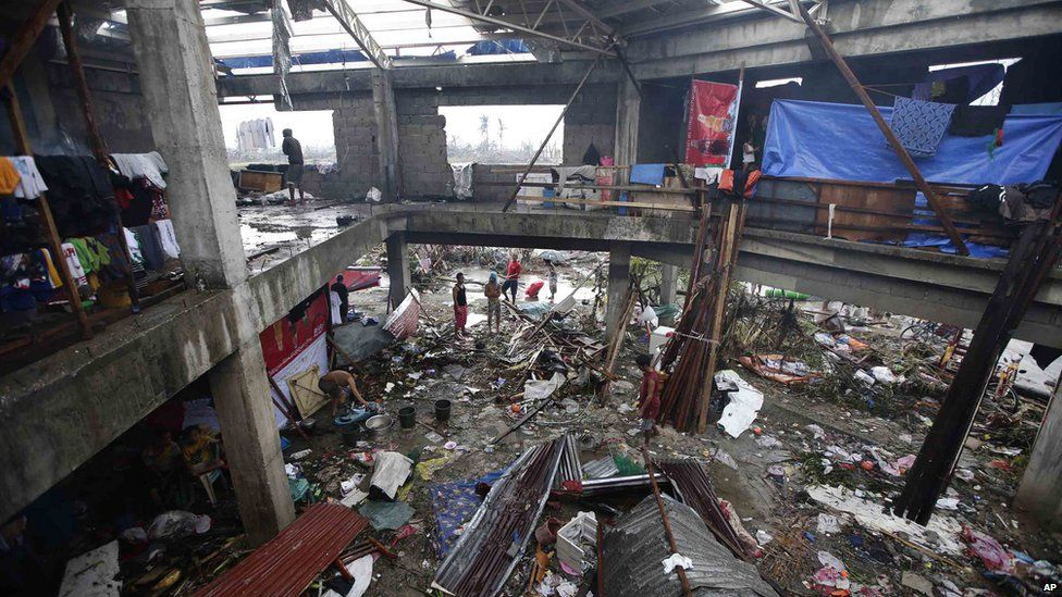 Building destroyed by typhoon. 10 Nov 2013