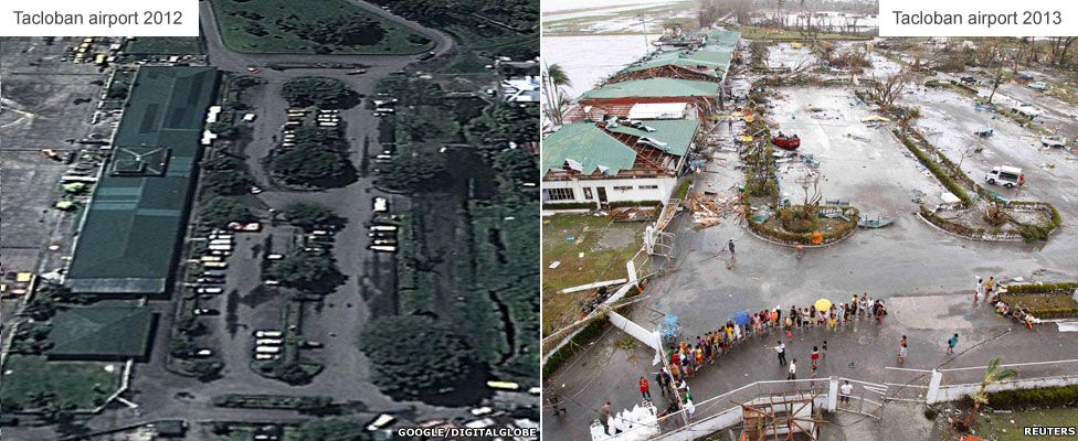 Before and after - Airport in Tacloban