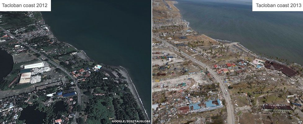 Before and after: Tacloban coast