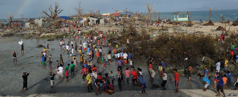 Residents of Victory Island near Guiuan town receive aid