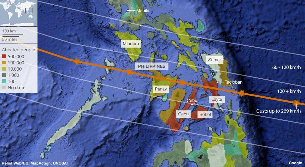 Mapping Typhoon Haiyan  BBC News