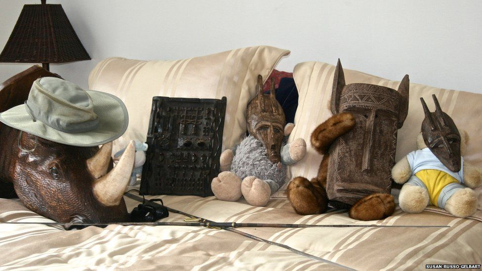 Masks on a bed