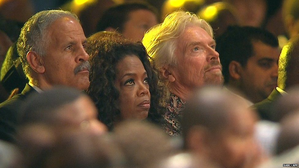 US talk show host Oprah Winfrey, her husband Stedman Graham (left) and English businessman Richard Branson